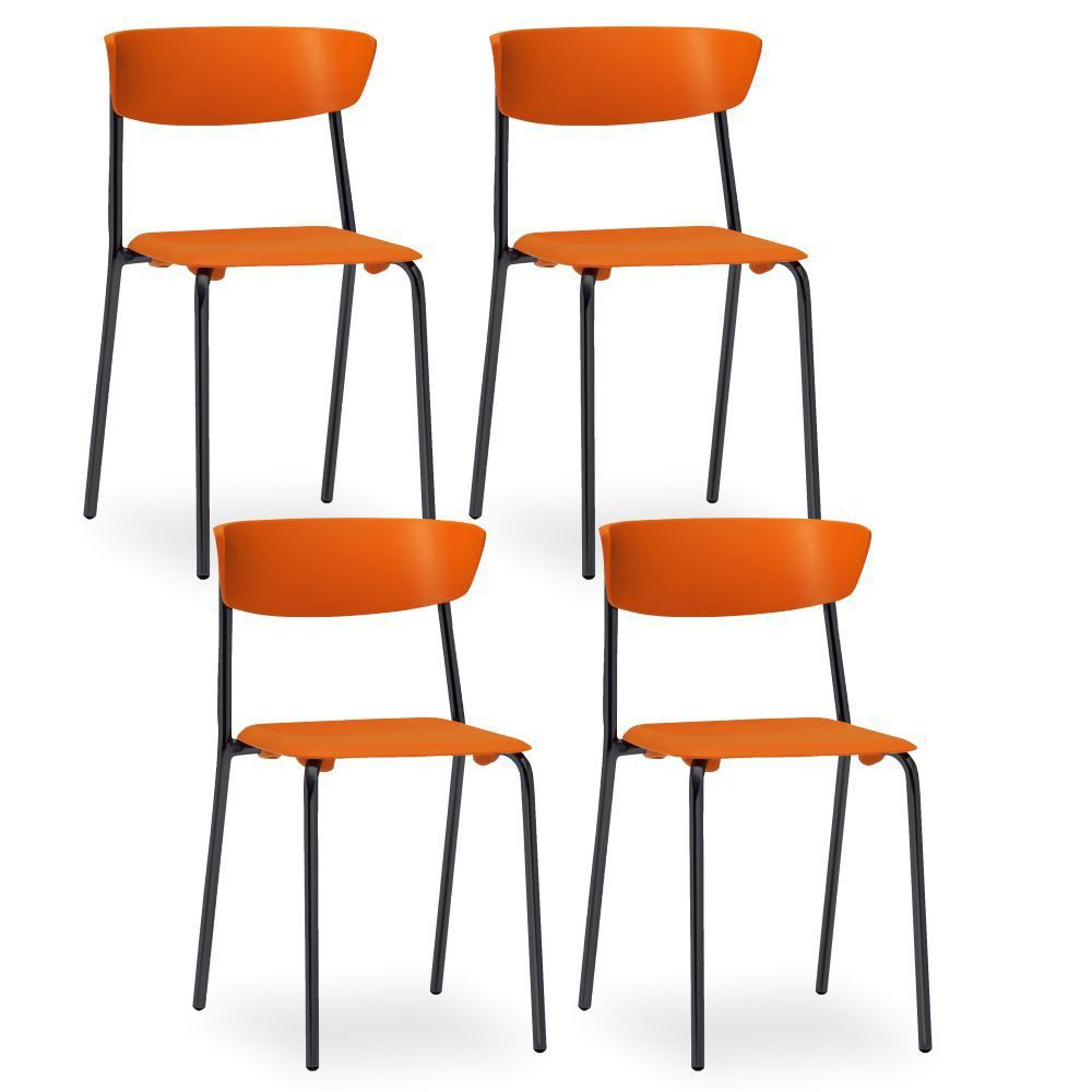 Kit 04 Cadeiras Fixa Base Preta Empilhável Bit  F02 Laranja - Lyam Decor