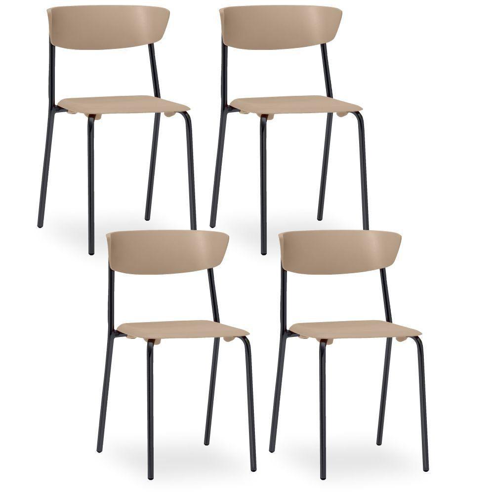 Kit 04 Cadeiras Fixa Base Preta Empilhável Bit F02 Nude - Lyam Decor