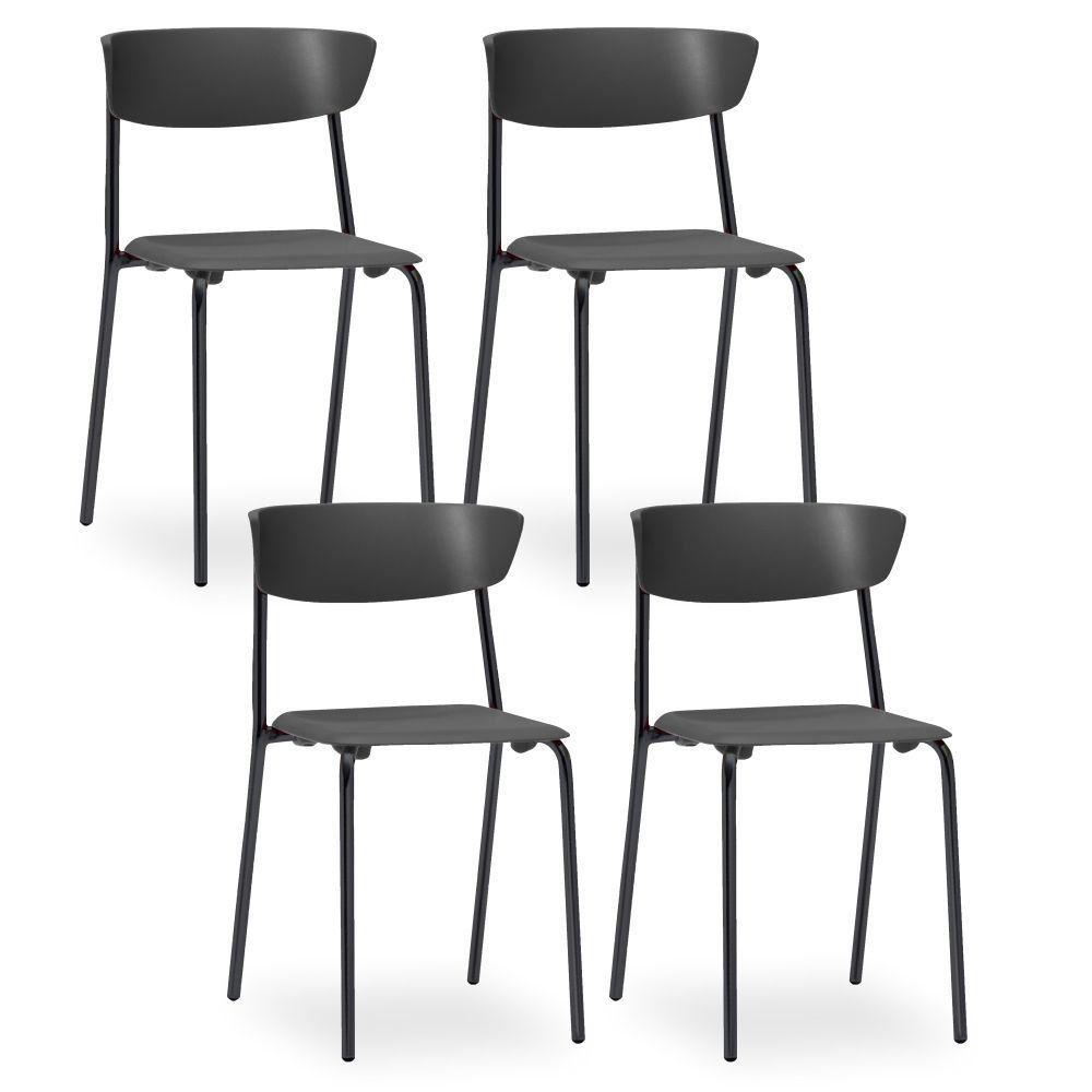 Kit 04 Cadeiras Fixa Base Preta Empilhável Bit F02 Preto - Lyam Decor