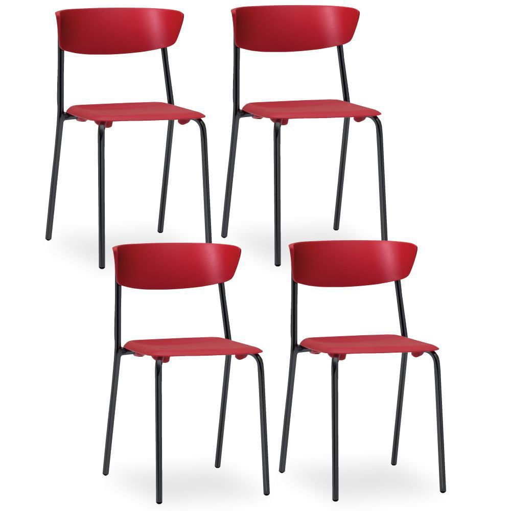 Kit 04 Cadeiras Fixa Base Preta Empilhável Bit F02 Vermelho - Lyam Decor