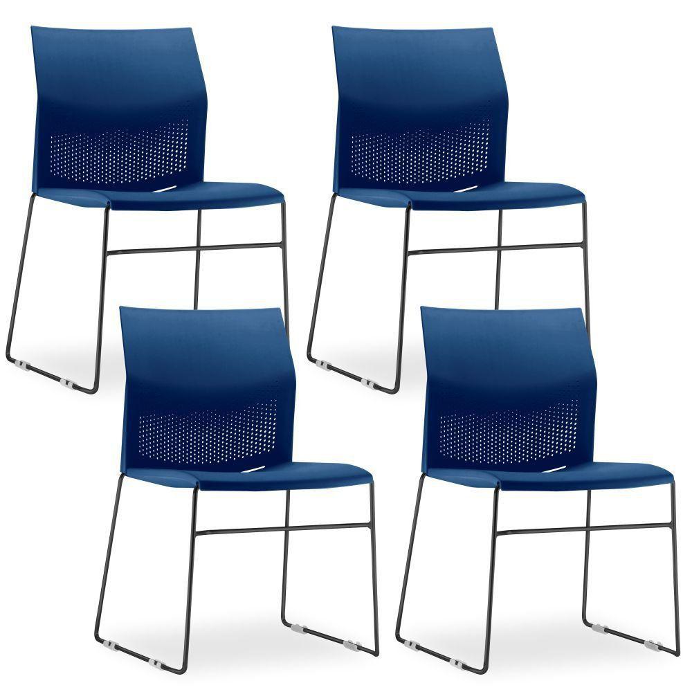 Kit 04 Cadeiras Fixa Base Preta Empilhável Connect F02 Azul Marinho - Lyam Decor