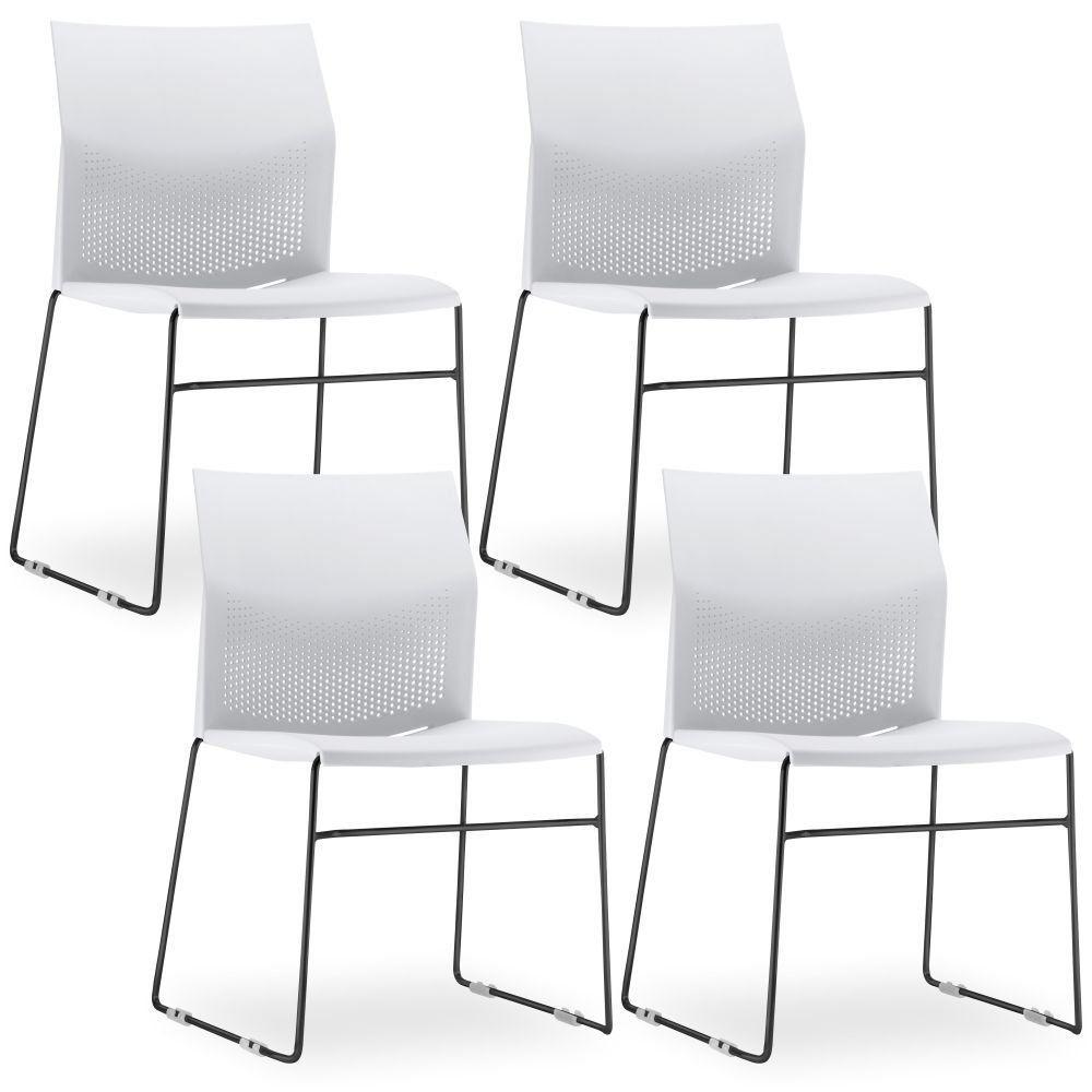 Kit 04 Cadeiras Fixa Base Preta Empilhável Connect F02 Branco - Lyam Decor
