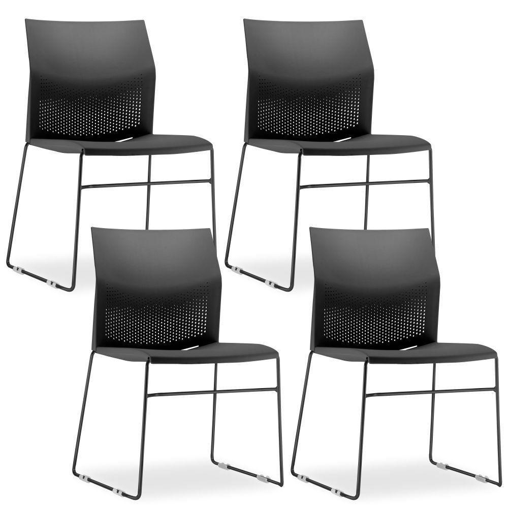 Kit 04 Cadeiras Fixa Base Preta Empilhável Connect F02 Preto - Lyam Decor