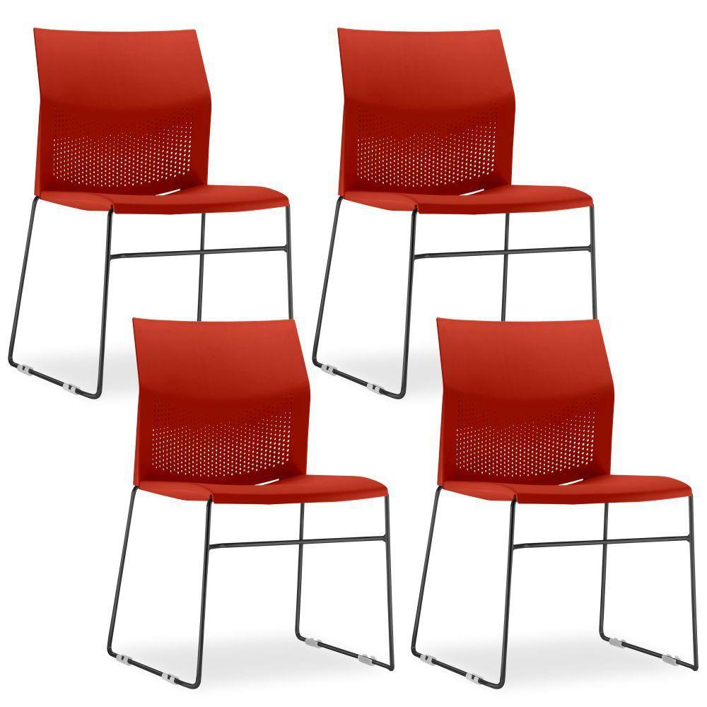 Kit 04 Cadeiras Fixa Base Preta Empilhável Connect F02 Vermelho - Lyam Decor