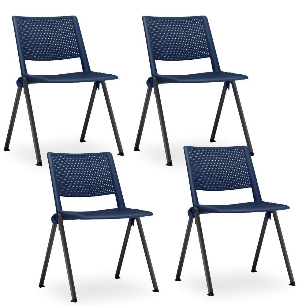 Kit 04 Cadeiras Fixa Base Preta Empilhável Up  F02 Azul Marinho - Lyam Decor