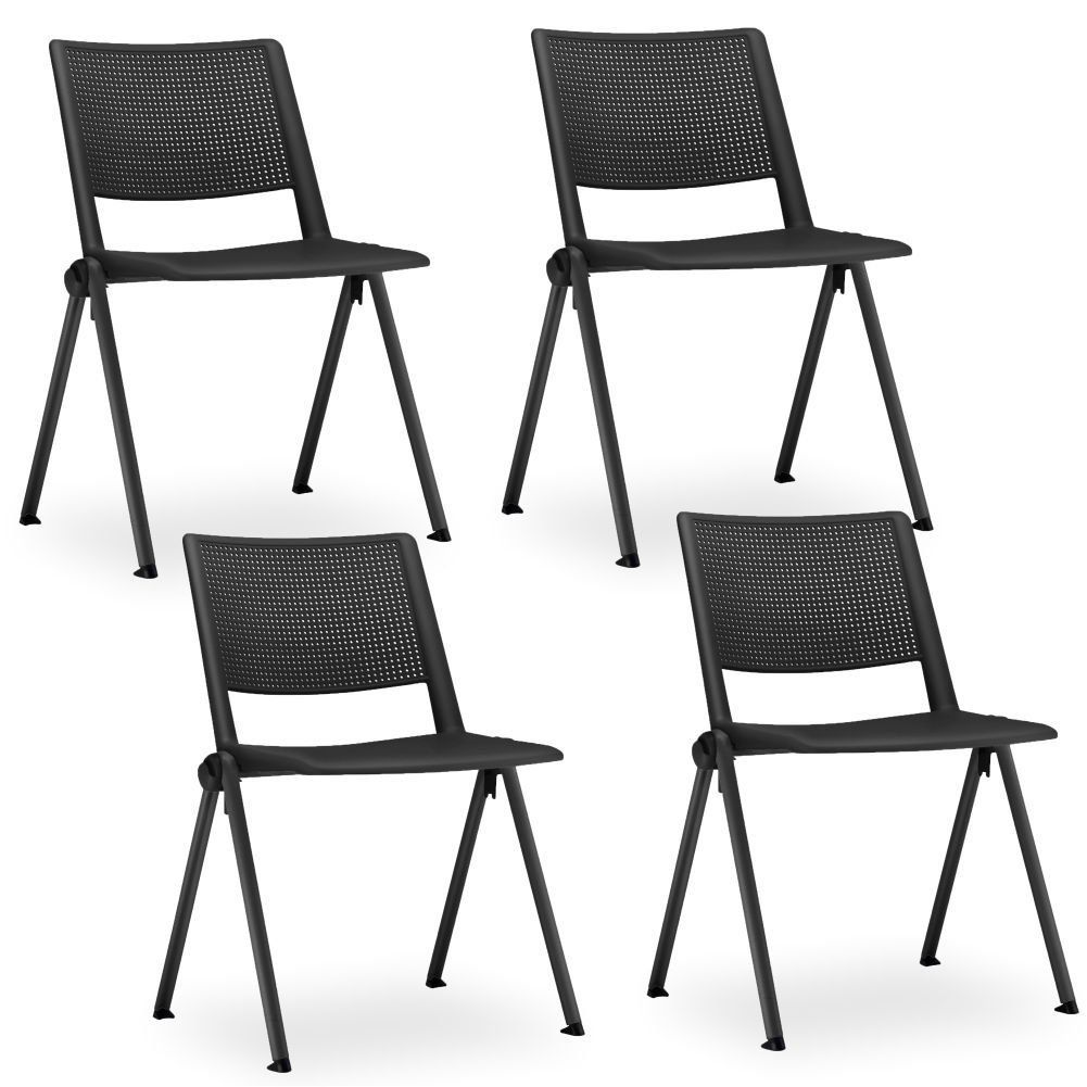 Kit 04 Cadeiras Fixa Base Preta Empilhável Up  F02 Preto - Lyam Decor
