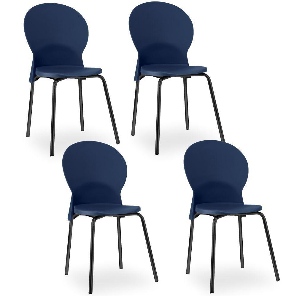 Kit 04 Cadeiras Fixa Base Preta Luna F02 Azul Marinho - Lyam Decor