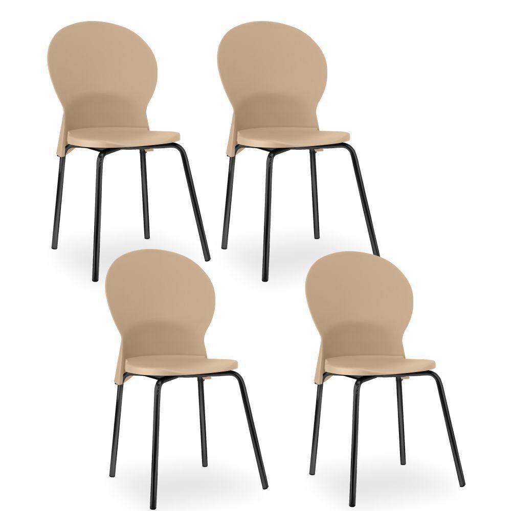 Kit 04 Cadeiras Fixa Base Preta Luna F02 Bege - Lyam Decor