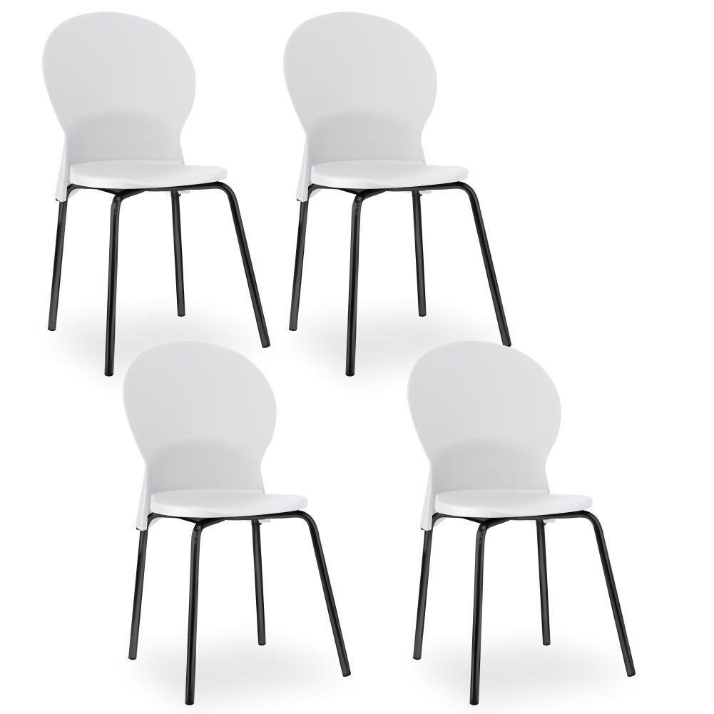 Kit 04 Cadeiras Fixa Base Preta Luna F02 Branco - Lyam Decor