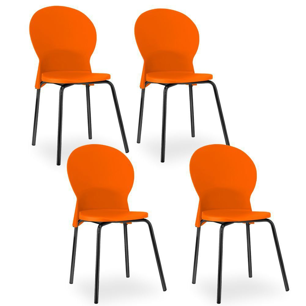 Kit 04 Cadeiras Fixa Base Preta Luna F02 Laranja - Lyam Decor
