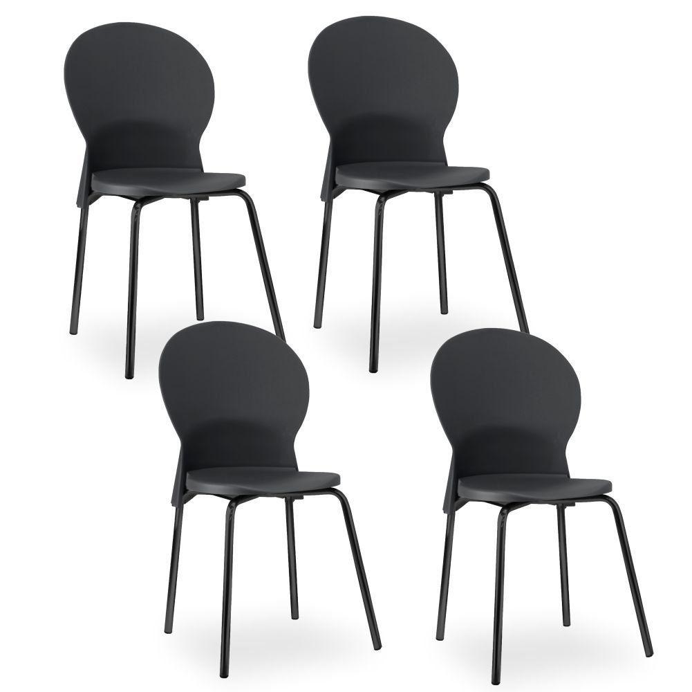 Kit 04 Cadeiras Fixa Base Preta Luna F02 Preto - Lyam Decor
