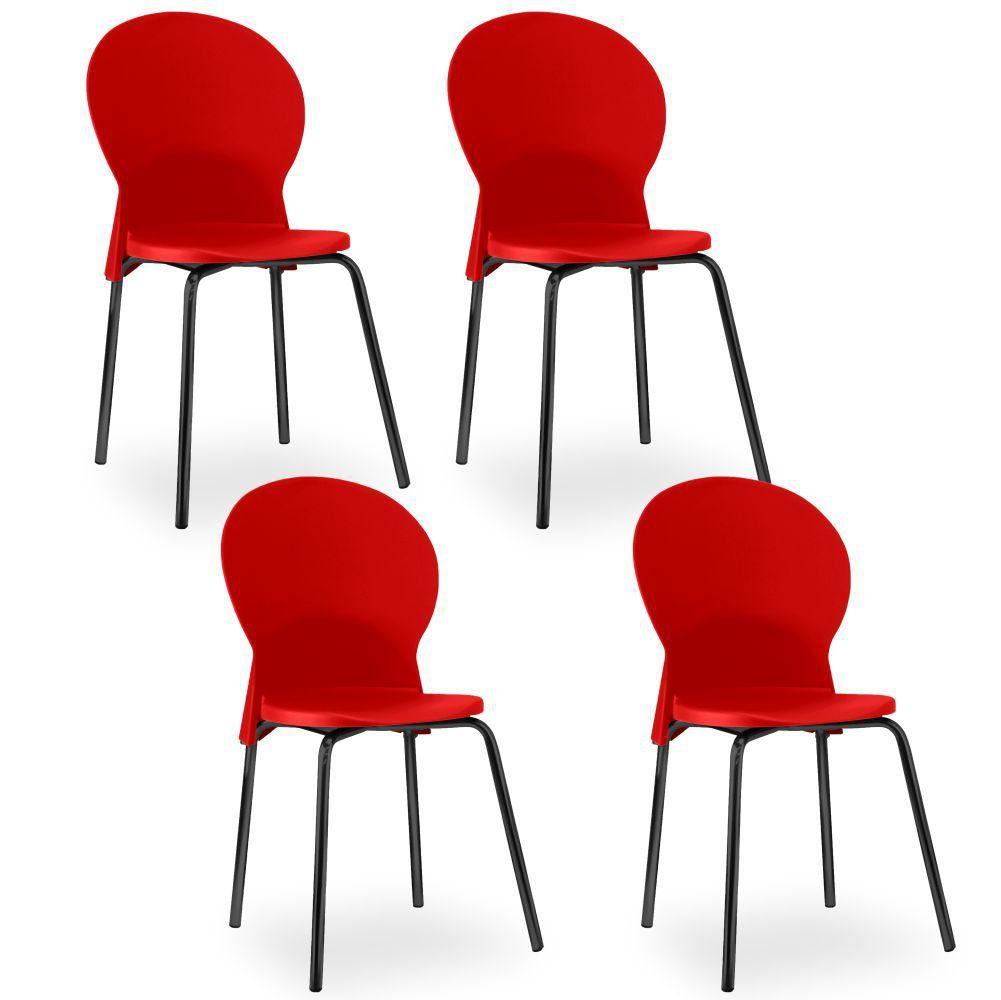 Kit 04 Cadeiras Fixa Base Preta Luna F02 Vermelho - Lyam Decor