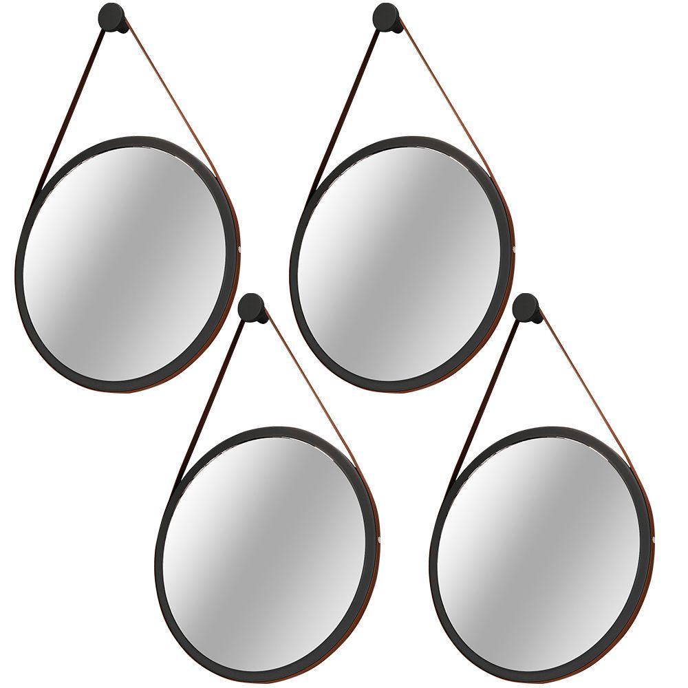 Kit 04 Espelhos Redondo Decorativo Adnet B01 Escandinavo com Alça de Couro 67 cm Nix - Lyam Decor