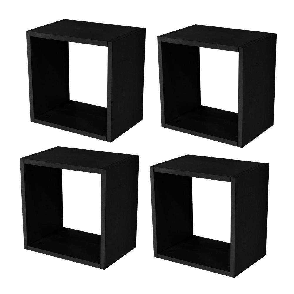 Kit 04 Nichos Quadrado Decorativo 31x31x15 S01 Preto Fosco - Lyam Decor