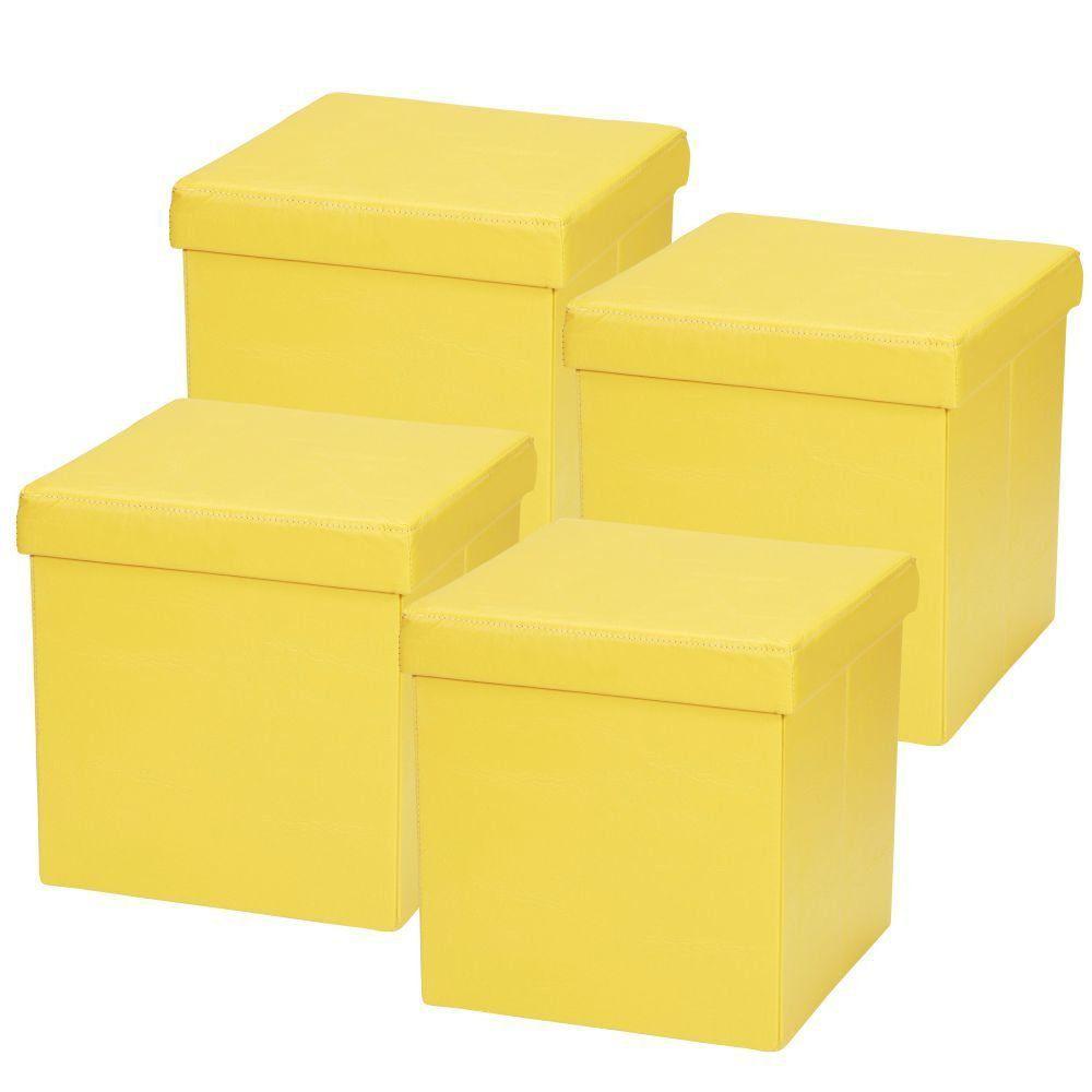 Kit 04 Puffs Baú Desmontável Para Sala Quarto Corino Amarelo 38x38 M01 - Lyam Decor