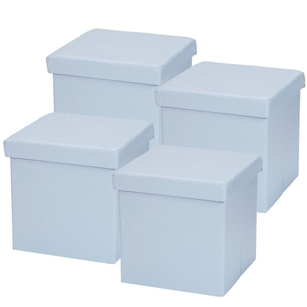 Kit 04 Puffs Baú Desmontável Para Sala Quarto Corino Azul 38x38 M01 - Lyam Decor
