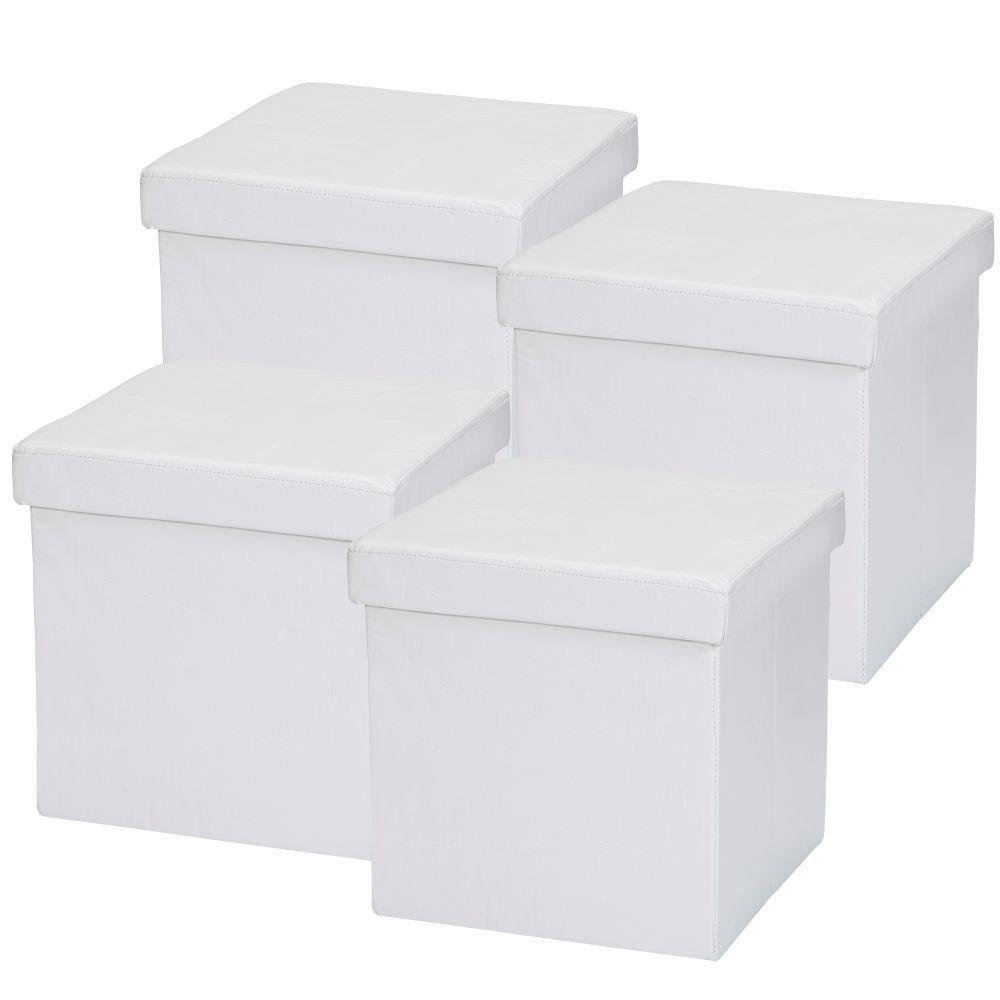 Kit 04 Puffs Baú Desmontável Para Sala Quarto Corino Branco 38x38 M01 - Lyam Decor