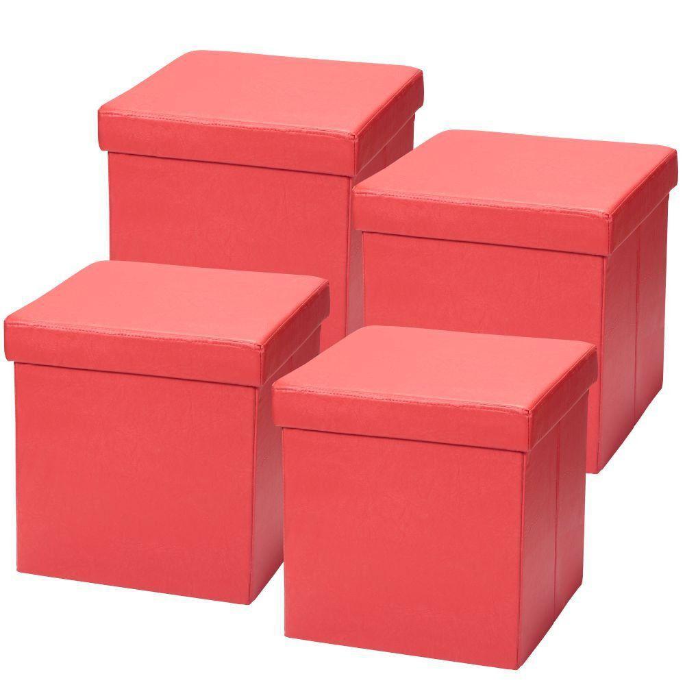 Kit 04 Puffs Baú Desmontável Para Sala Quarto Corino Vermelho 38x38 M01 - Lyam Decor