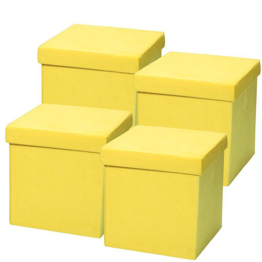 Kit 04 Puffs Baú Desmontável Para Sala Quarto Suede Amarelo 38x38 M01 - Lyam Decor