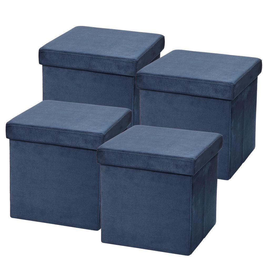 Kit 04 Puffs Baú Desmontável Para Sala Quarto Suede Azul 38x38 M01 - Lyam Decor