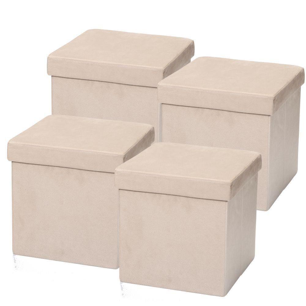 Kit 04 Puffs Baú Desmontável Para Sala Quarto Suede Bege 38x38 M01 - Lyam Decor