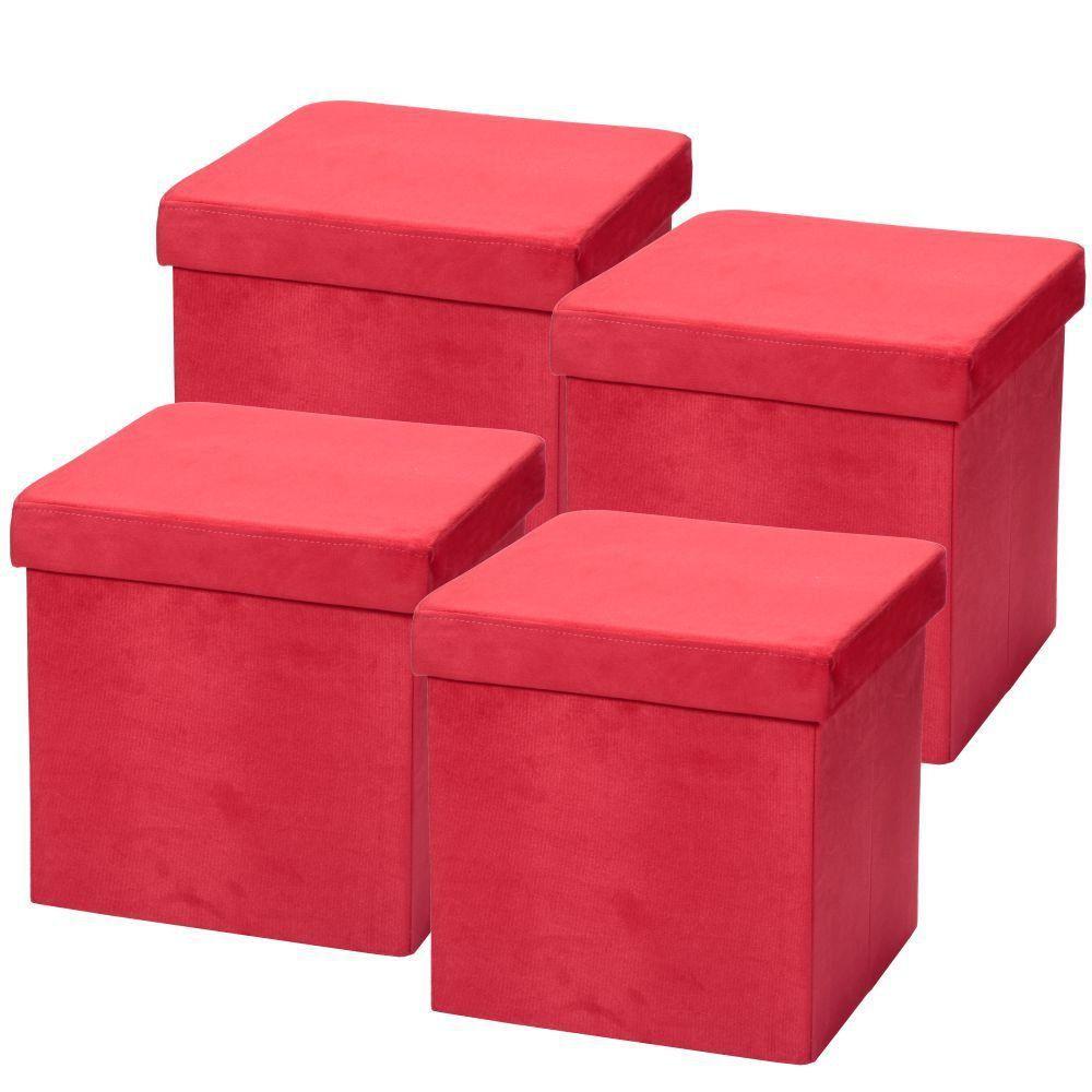 Kit 04 Puffs Baú Desmontável Para Sala Quarto Suede Vermelho 38x38 M01 - Lyam Decor