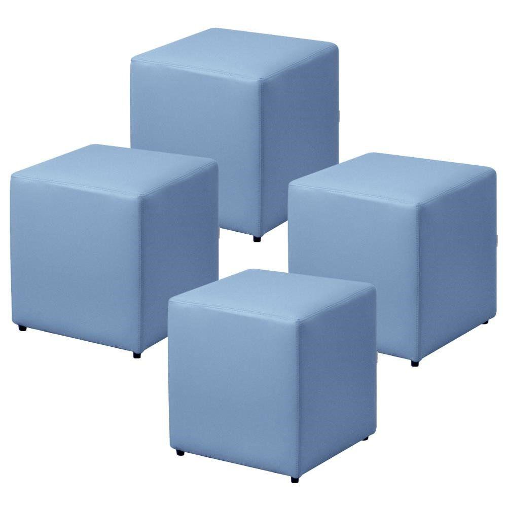Kit 04 Puffs Quadrado L02 Decorativo Corino Azul - Lyam Decor