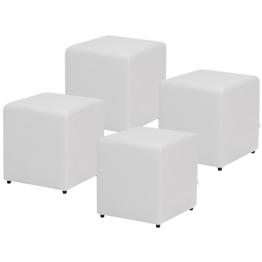 Kit 04 Puffs Quadrado L02 Decorativo Corino Branco - Lyam Decor