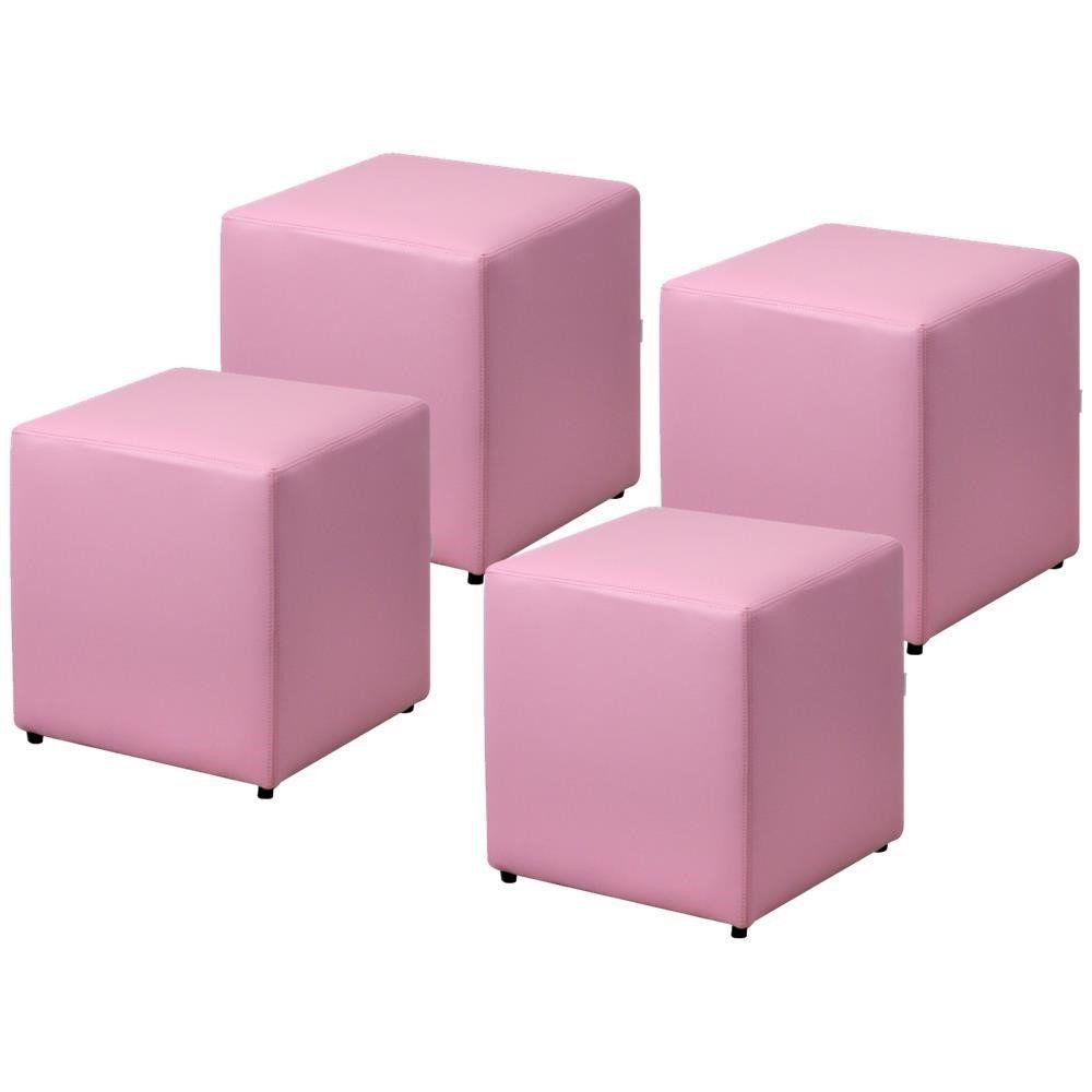 Kit 04 Puffs Quadrado L02 Decorativo Corino Rosa - Lyam Decor