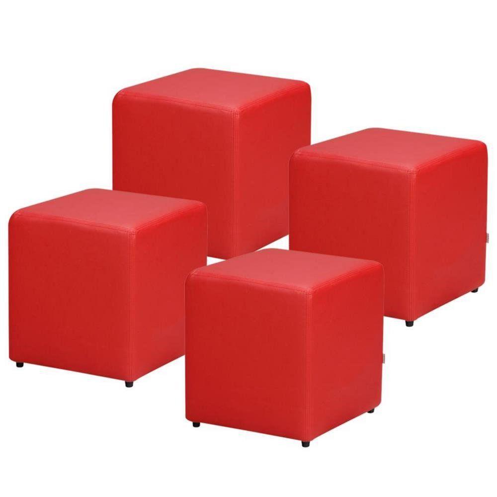 Kit 04 Puffs Quadrado L02 Decorativo Corino Vermelho - Lyam Decor
