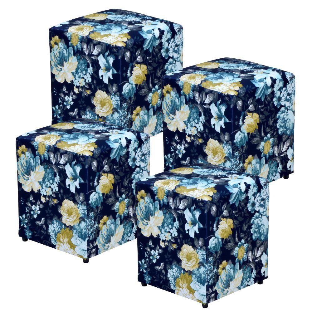 Kit 04 Puffs Quadrado L02 Decorativo Tecido Azul Estampado - Lyam Decor