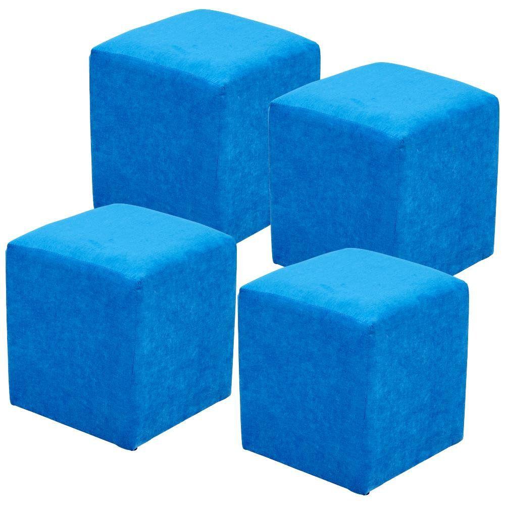 Kit 04 Puffs Quadrado L02 Decorativo Tecido Azul Royal - Lyam Decor