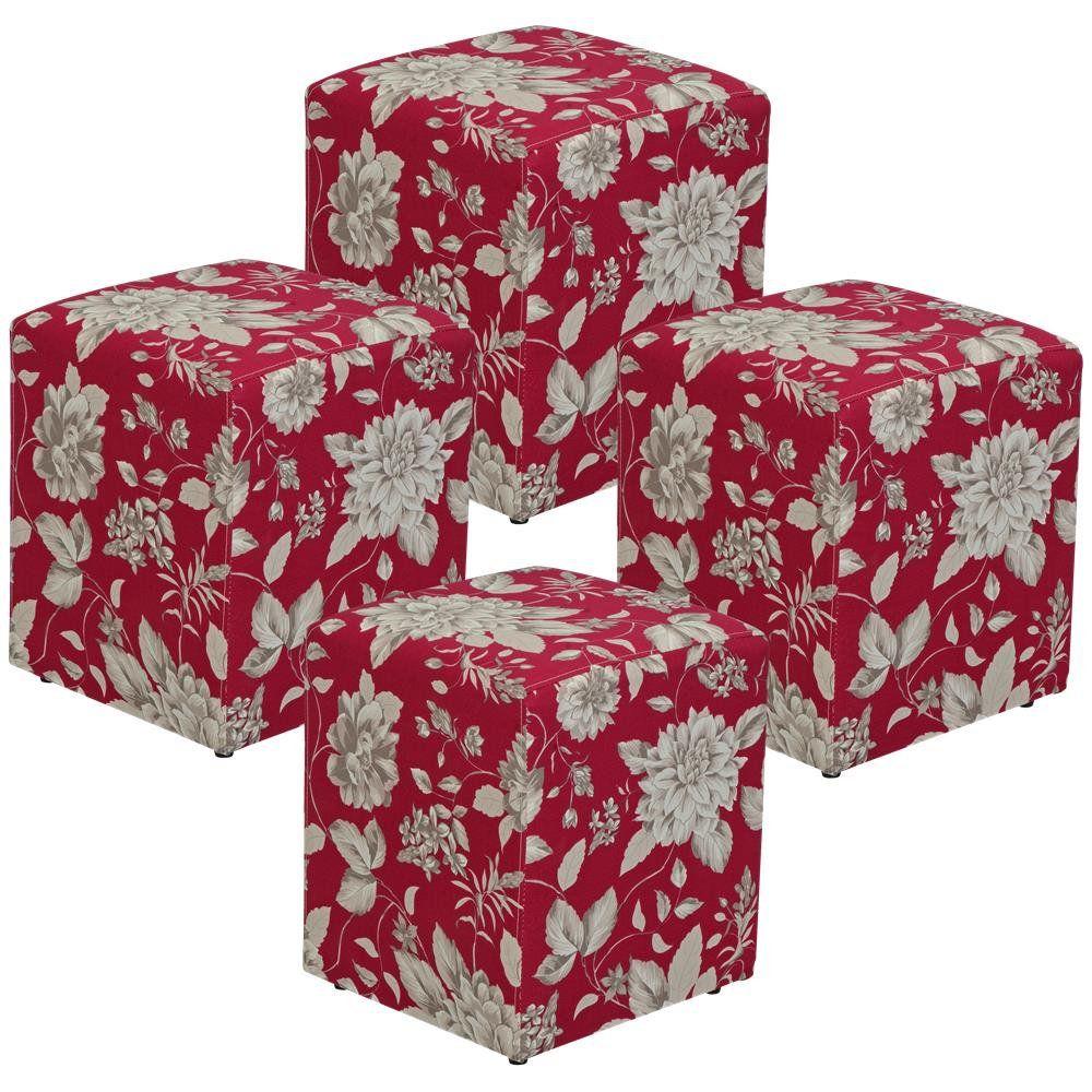 Kit 04 Puffs Quadrado L02 Decorativo Tecido Cinza Vermelho - Lyam Decor
