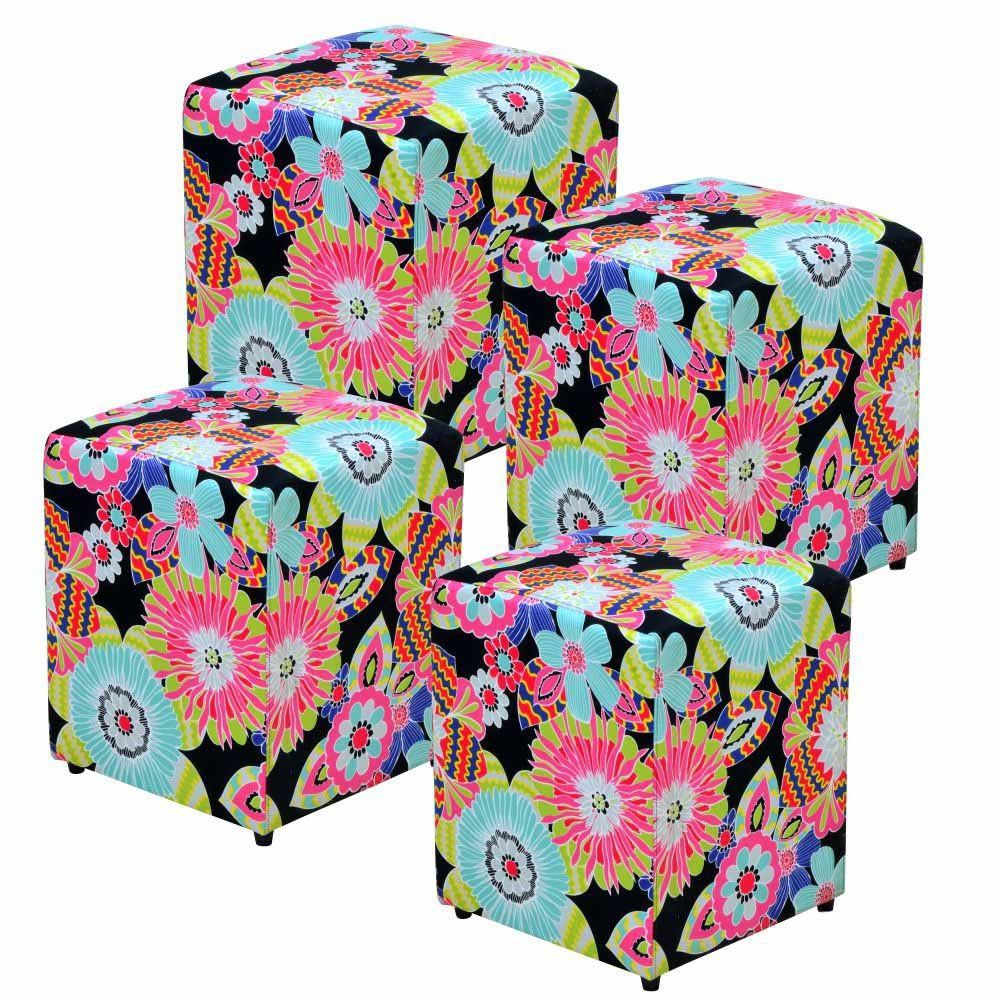 Kit 04 Puffs Quadrado L02 Decorativo Tecido Floral Preto - Lyam Decor