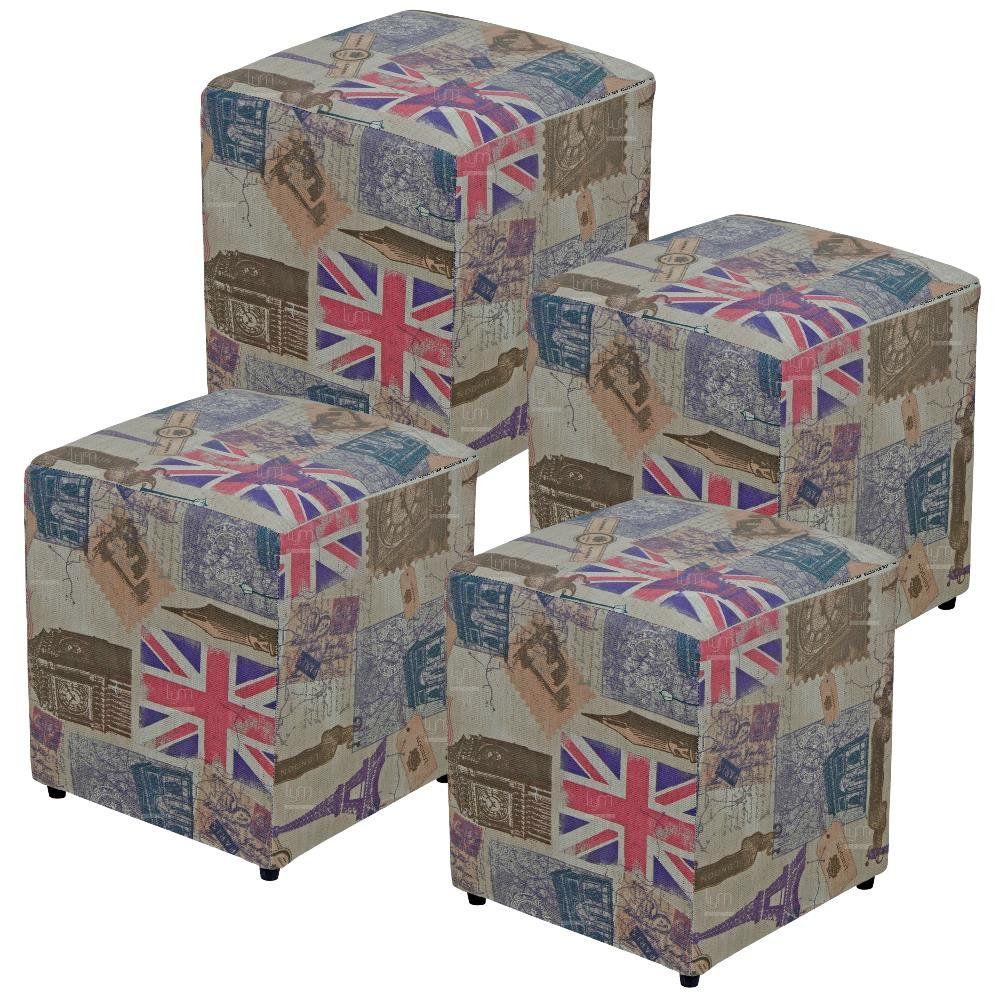Kit 04 Puffs Quadrado L02 Decorativo Tecido Linho London - Lyam Decor