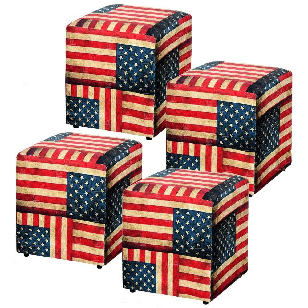 Kit 04 Puffs Quadrado L02 Decorativo Tecido Suede Bandeira - Lyam Decor