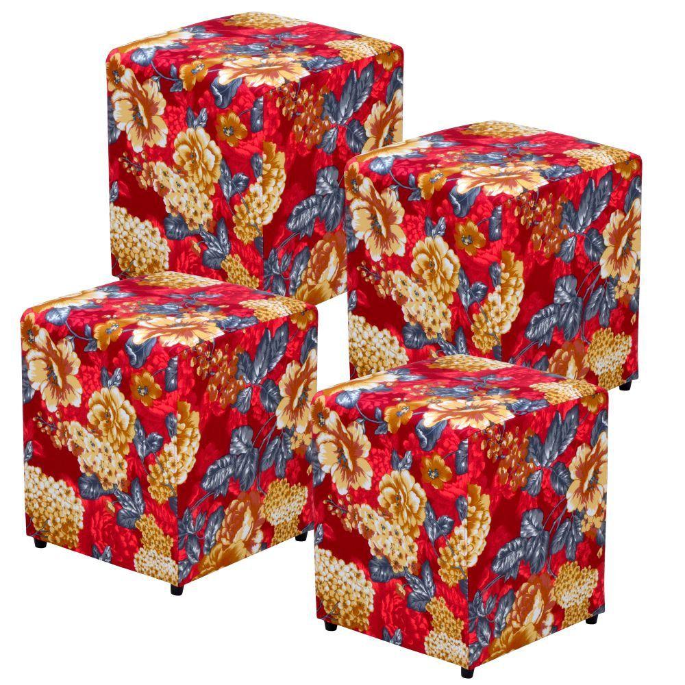 Kit 04 Puffs Quadrado L02 Decorativo Tecido Vermelho Estampado - Lyam Decor
