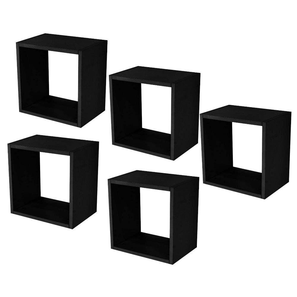 Kit 05 Nichos Quadrado Decorativo 31x31x15 S01 Preto Fosco - Lyam Decor