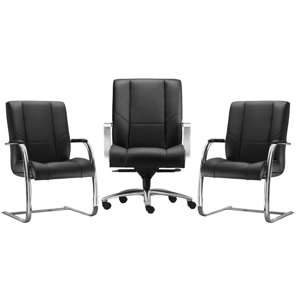 Kit Cadeira de Escritório Diretor com 02 Cadeiras Fixas New Onix F02 Couro Ecológico Preto - Lyam Decor
