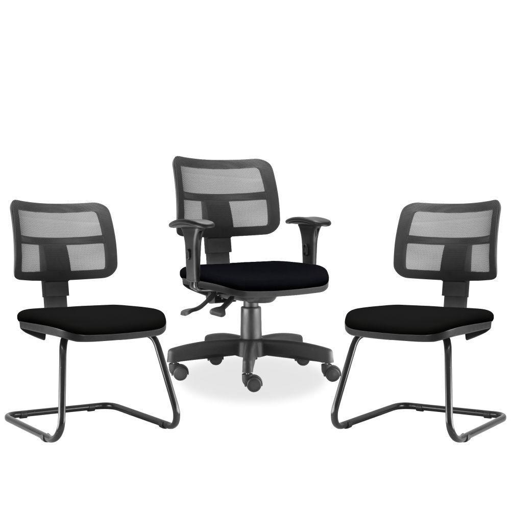Kit Cadeira de Escritório Giratória e 02 Cadeiras Fixas Zip L02 Corino Preto - Lyam Decor
