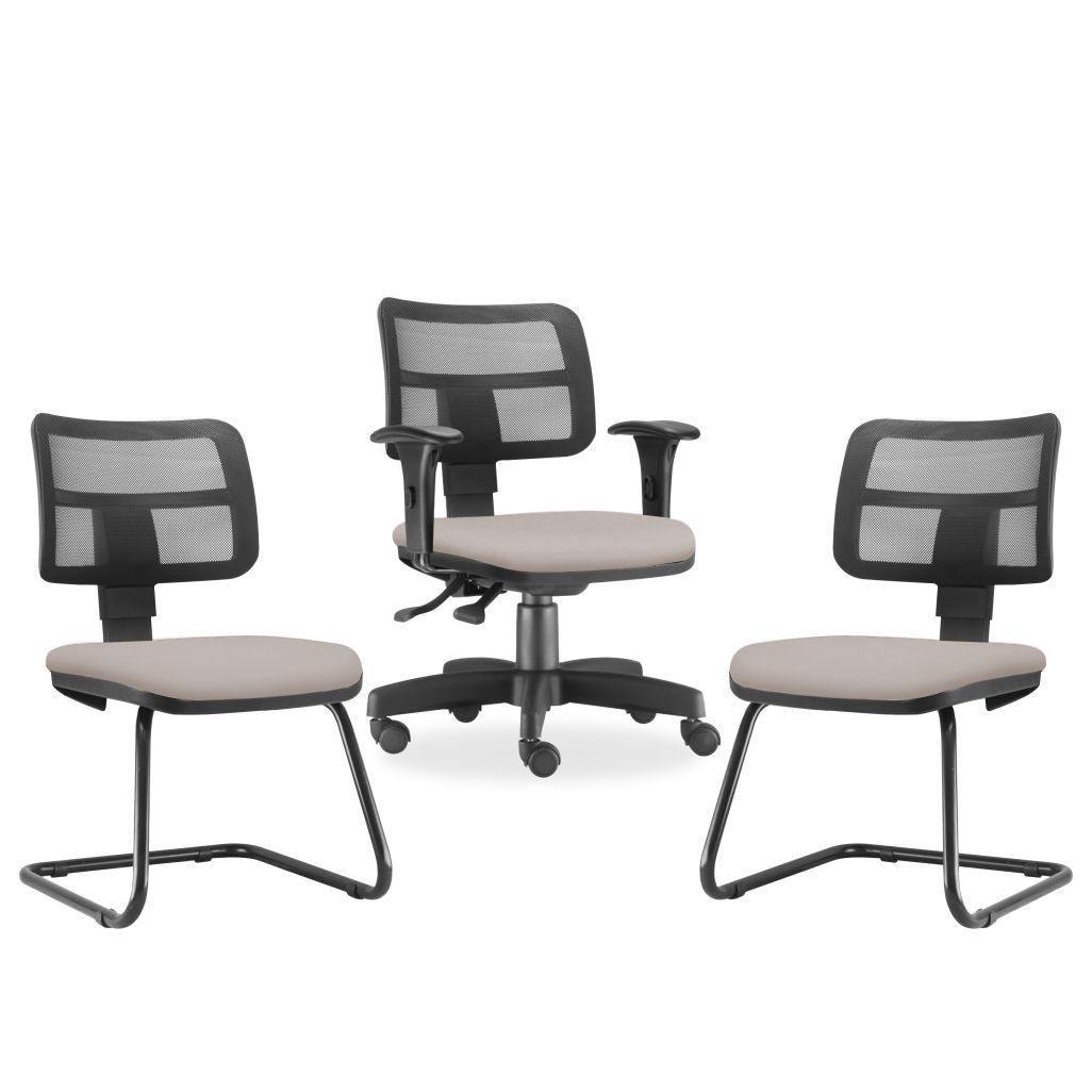 Kit Cadeira de Escritório Giratória e 02 Cadeiras Fixas Zip L02 Linho Bege - Lyam Decor