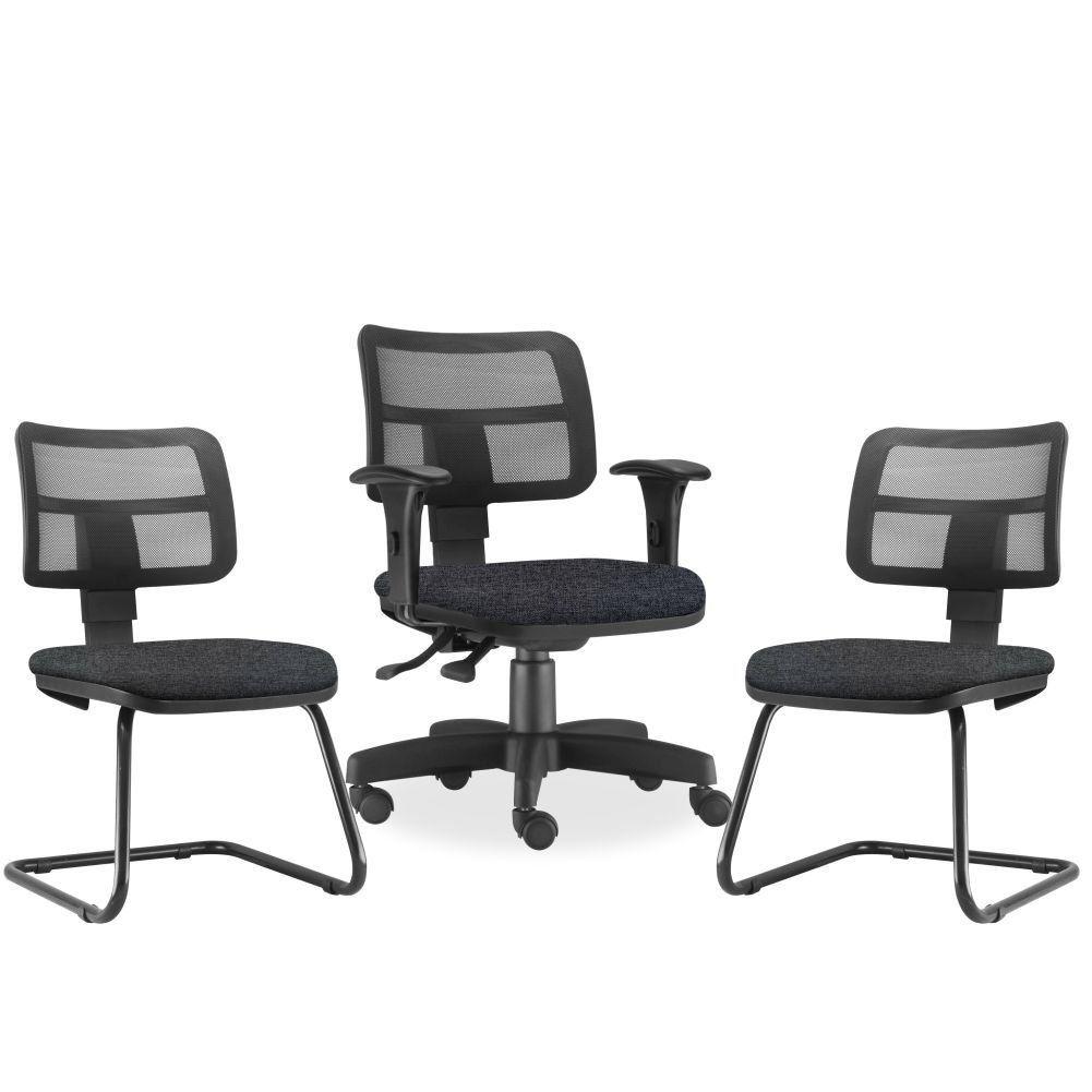 Kit Cadeira de Escritório Giratória e 02 Cadeiras Fixas Zip L02 Linho Chumbo - Lyam Decor