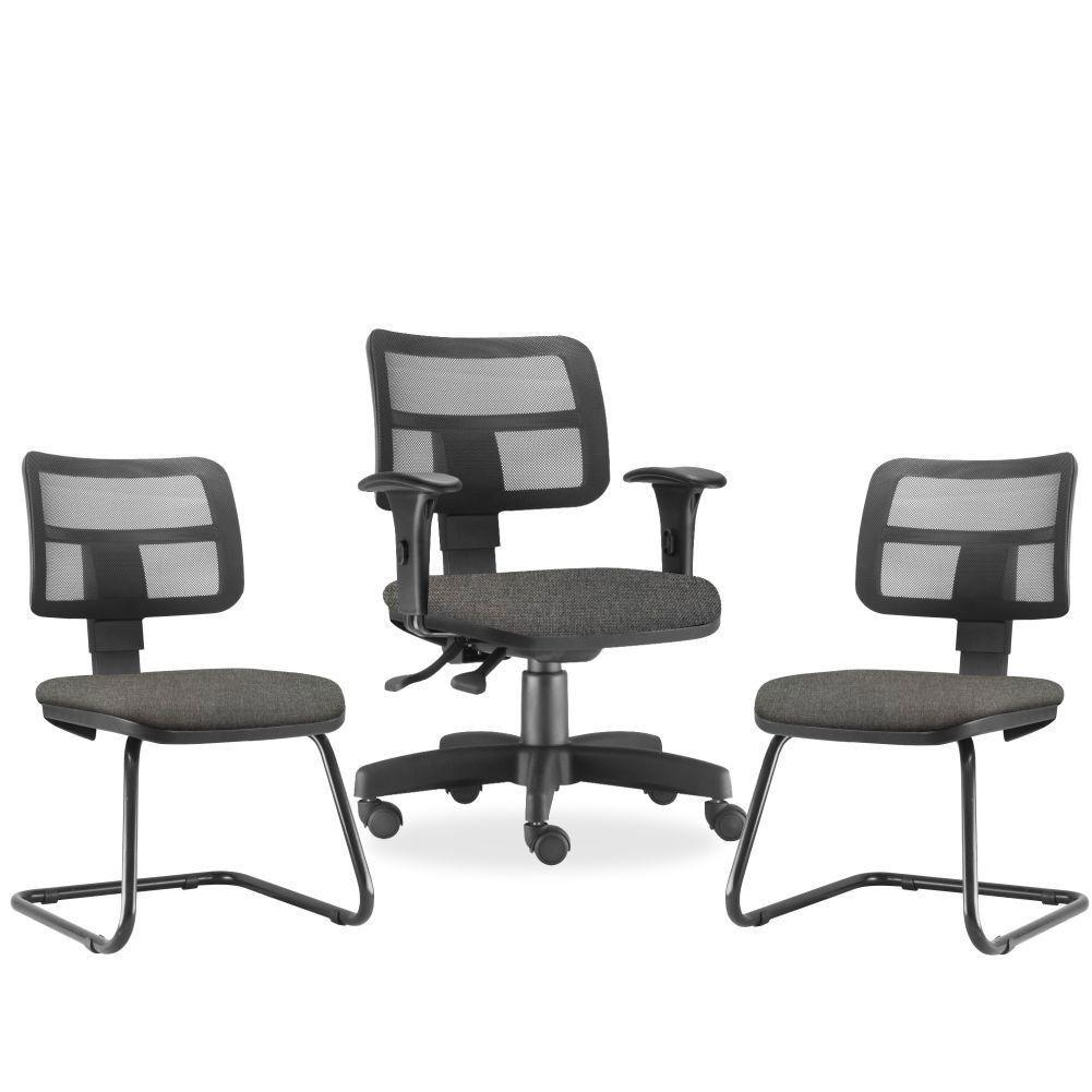 Kit Cadeira de Escritório Giratória e 02 Cadeiras Fixas Zip L02 Linho Cinza Escuro - Lyam Decor