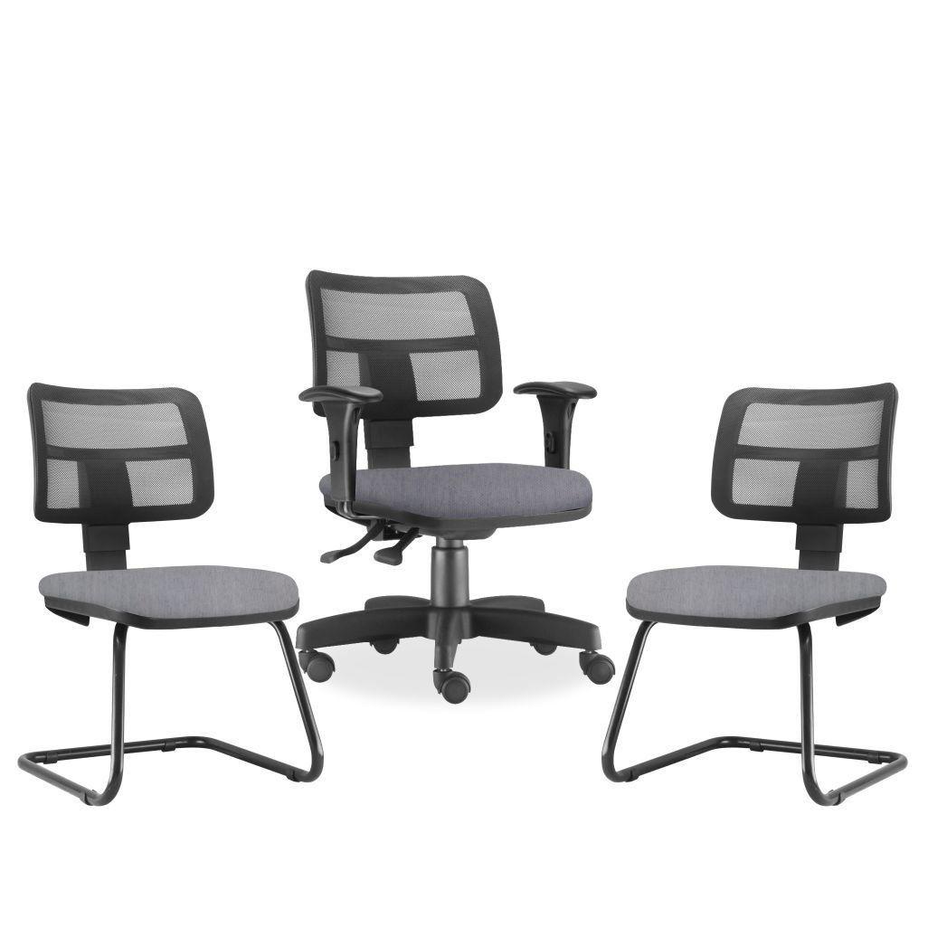 Kit Cadeira de Escritório Giratória e 02 Cadeiras Fixas Zip L02 Linho Cinza - Lyam Decor