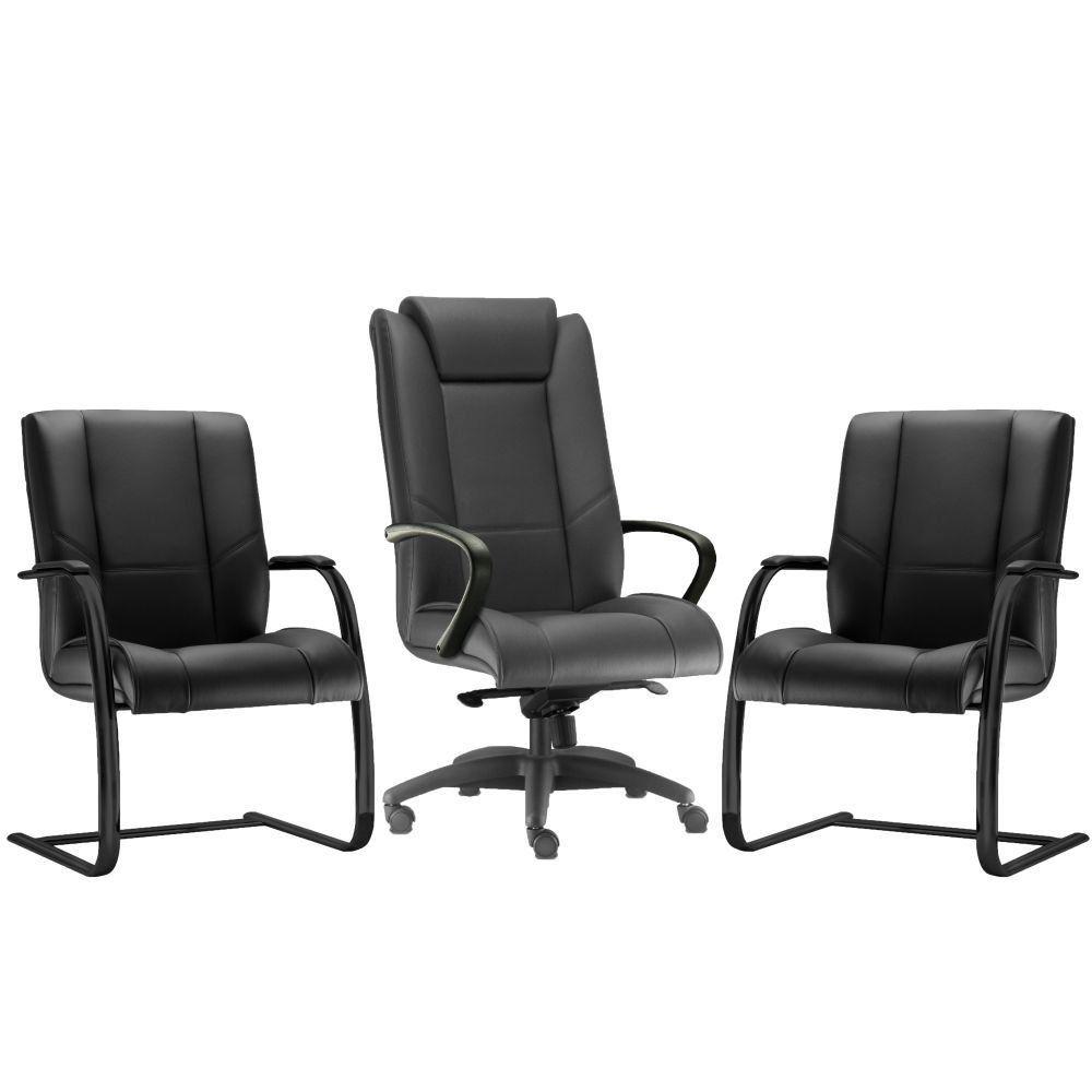 Kit Cadeira de Escritório Presidente com 02 Cadeiras Fixas New Onix F02 Couro Ecológico Preto - Lyam Decor