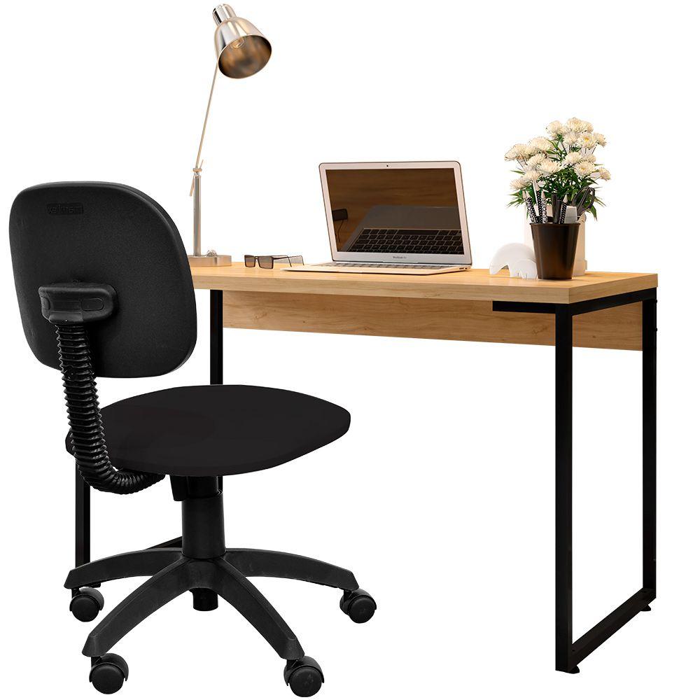 Kit Cadeira Escritório Economy Corano e Mesa Escrivaninha Industrial Soft F01 Nature Fosco - Lyam Decor