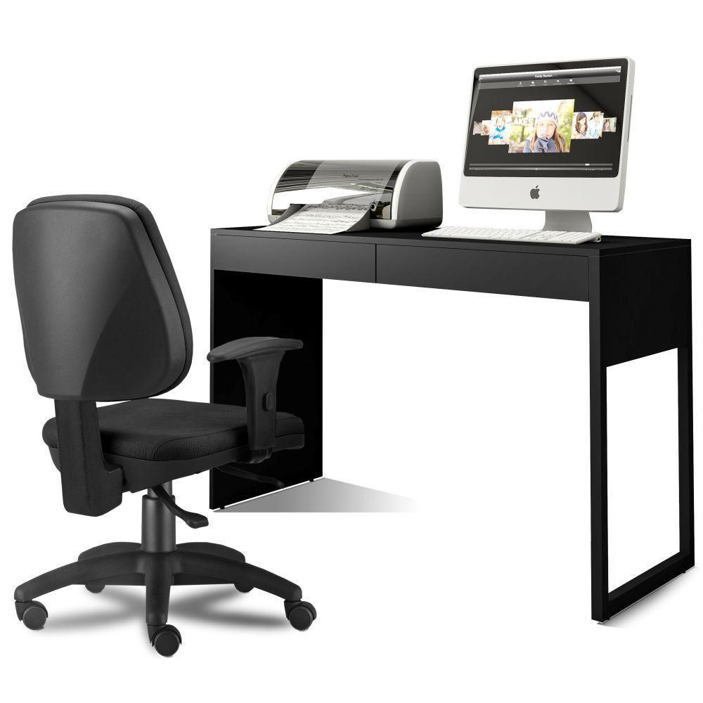 Kit Cadeira Escritório Job Crepe e Mesa Escrivaninha Work F01 Preto Fosco - Lyam Decor