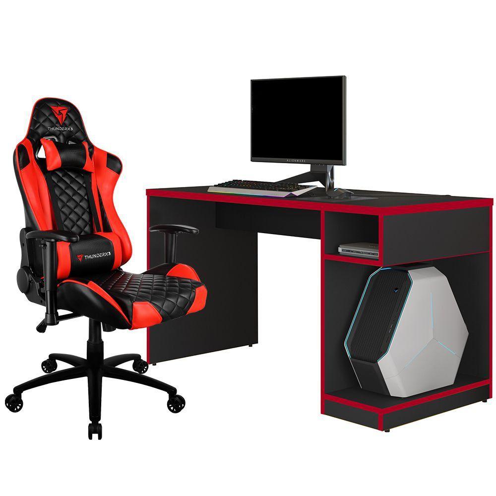 Kit Mesa Para PC Gamer Legend com Cadeira Gamer TGC12 H01 ThunderX3 Preto Vermelho - Lyam Decor