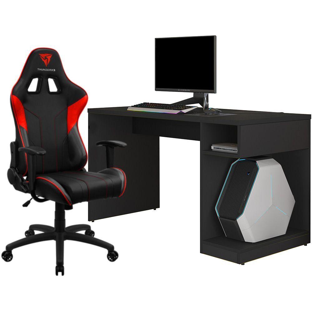 Kit Mesa Para PC Gamer Legend Preto com Cadeira Gamer EC3 ThunderX3 Preto Vermelho - Lyam Decor