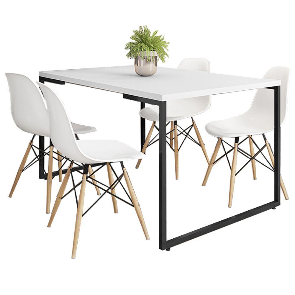 Mesa de Jantar Rivera Industrial Branco F01 com 04 Cadeiras Eiffel Charles Eames Branco - Lyam Decor